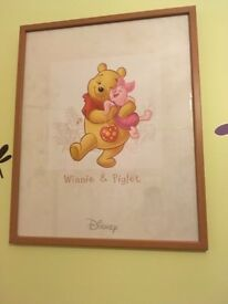 2 x Winnie the Pooh framed pictures