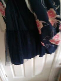 Navy, peach & white Summer dress. 16