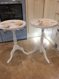 Set of two shabby chic upcycled wine tables