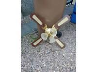 Brass wood ceiling fan