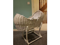 For Sale Wicker White Moses Basket And Stand Cream/white Mothercare. Very good condition.