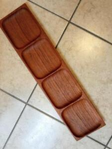 """Rare Retro SOLID TEAK TRAY Beautifully Carved by Hand 20"""" LONG X 5"""" WIDE Oakville ON. 905 510-8720 Vintage 70s"""