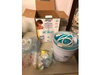 Avent steriliser. With accessories and bottles