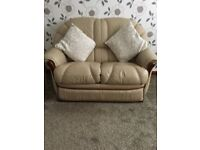 2&3 leather sofas good condition colour dark cream