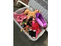 Large box of barbies & accessories