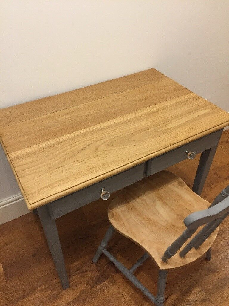 Solid wooden dressing table/writing desk and chair