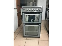 Hotpoint ultima electric cooker 50cm silver ceramic double oven 3 months warranty free local deliver