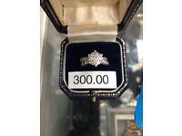 9ct white gold, 1ct diamond ring
