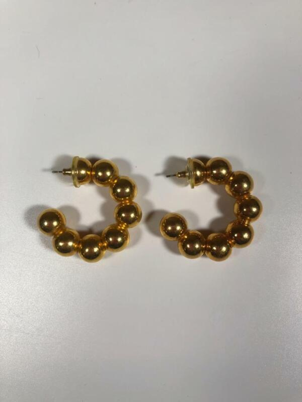 Vintage Earrings — 80's-90's — Costume Jewelry Gold Color Ball Hoops Hoop