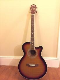 Semi acoustic guitar and case