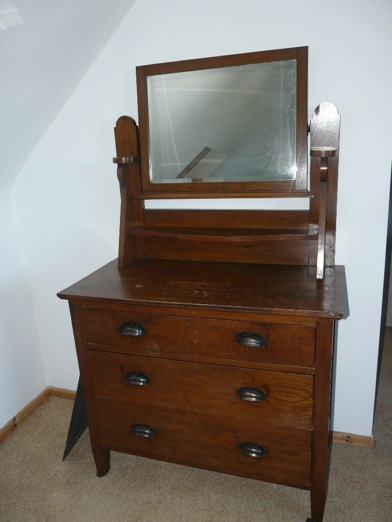 Vintage 1930s Wooden Chest Of Drawers With Mirror Shabby Chic Dressing Table