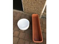 Large, white ceramic plant holder plus 2 plastic window boxes (measuring 80 x 20 cm).