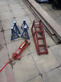 Set of car ramps axel stands x4 and a jack