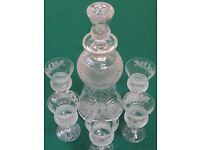 Cut Glass Whiskey Decanter + 6 thistle whiskey glasses