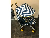My babiie pushchair blue and yellow