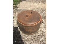 Antique Old Romany Cast iron cooking pots 25 gallons /5 gallon x 2