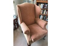 Pair of red/cream patterned upholstered fireside chairs