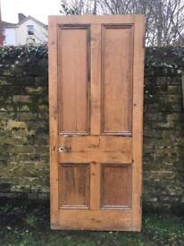 "Very Large Reclaimed Victorian Pitch Pine Door 35.5"" x 82"" x 1 3/4"" salvage"