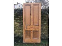 """Very Large Reclaimed Victorian Pitch Pine Door 35.5"""" x 82"""" x 1 3/4"""" salvage"""