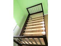 WOODEN SINGLE BED frame- Dark brown