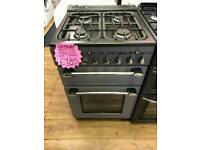 LEISURE 55CM GAS DOUBLE OVEN COOKER IN SILVER