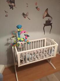 SOLD - Mothercare Swinging Crib, Mattress and 2 sheets