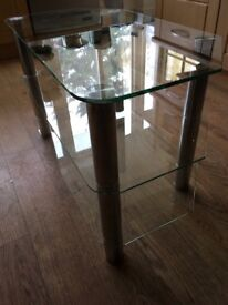 "TV stand 3 clear glass shelves with 4 chrome supports. 16.5"" x 31.5"" collection only."
