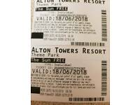 2x alton towers tickets for 18.6.18