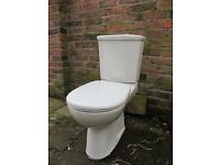 White Close coupled Toilet with seat duo flush