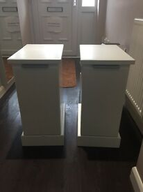 Pair of white bedside cabinets