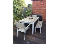 Lovely IKEA garden dining set FALSTER 2x carver chair 2x bench and 1 table