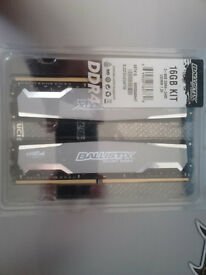 RAM 16 GB DDR4 (2x8GB) Crucial Ballistix (NEW, STILL IN THE BOX)