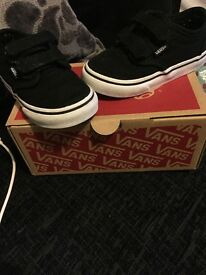 Infant size 6 black vans with box