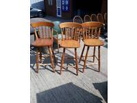 Pine breakfast bar stools. Set of 3 wood