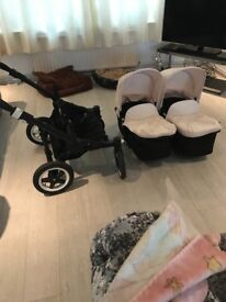 Bugaboo twin pram black on cream only 3 months old