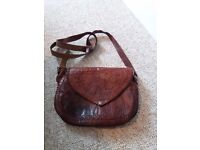 Brown Leather bag with elephant detail