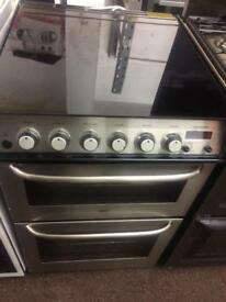 Stainless steel zanussi 55cm gas cooker grill & double ovens good condition with guarantee