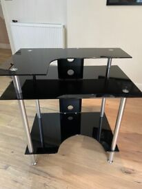 Home office / Computer station / Black Glass with Chrome finish modern VGC