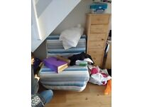 Chairbed for sale. Armchair that folds out to become a single bed. An IKEA lycksele lövås chair