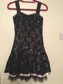 Black lace cocktail evening dress