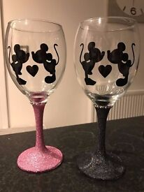 Pink N Black Set Micky Minnie Mouse Glitter Glass Engagement Valentines Present