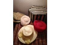 4 Ladies Hats. Selection plus old hat box. May suit Am-dram. Fur, Straw.