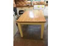 Oak Dining Table with Cream Legs