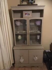 Cream French dresser display cabinet with lighting finished in Annie Sloan chalk paint