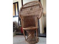 Vintage Large Wicker Peacock Chair Retro
