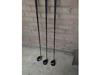 3 golf clubs cleveland 3,5.7 woods graphite shafts excellent condition