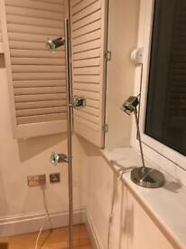 Matching Brushed Stainless Steel Floor and Desk Lamp