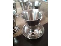 6 stainless steel Goblets with matching tray/saucers