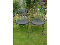 PAIR OF GOOD QUALITY IRON WROUGHT GARDEN CONSERVATORY CHAIRS RATTAN SEATS