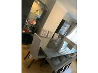 Italian Dining table and chairs + 2 matching cabinets grey marble affect